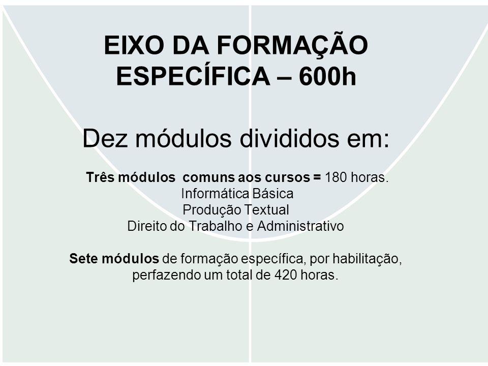 EIXO DA FORMAÇÃO ESPECÍFICA – 600h Dez módulos divididos em: Três módulos comuns aos cursos = 180 horas. Informática Básica Produção Textual Direito d