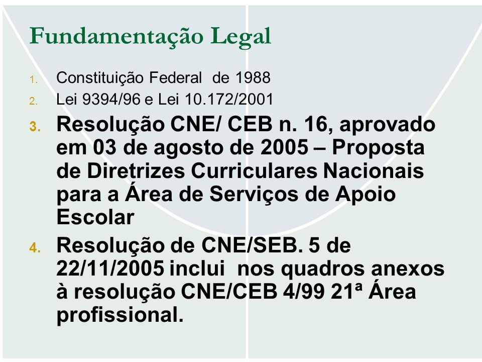 Fundamentação Legal 1. Constituição Federal de 1988 2. Lei 9394/96 e Lei 10.172/2001 3. Resolução CNE/ CEB n. 16, aprovado em 03 de agosto de 2005 – P