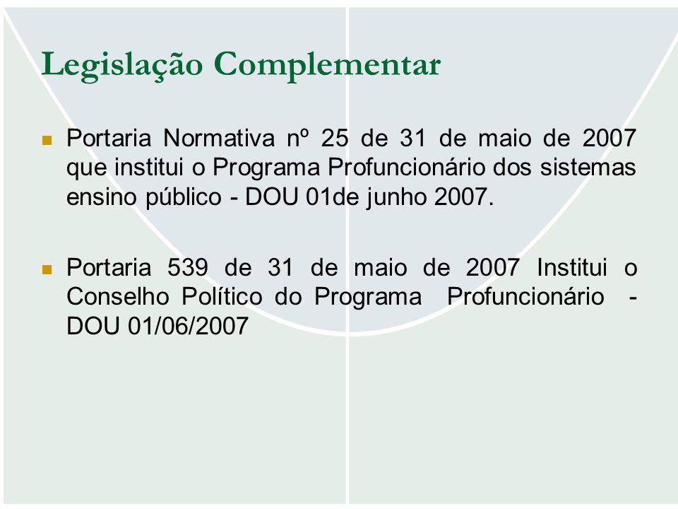 Legislação Complementar Portaria Normativa nº 25 de 31 de maio de 2007 que institui o Programa Profuncionário dos sistemas ensino público - DOU 01de j
