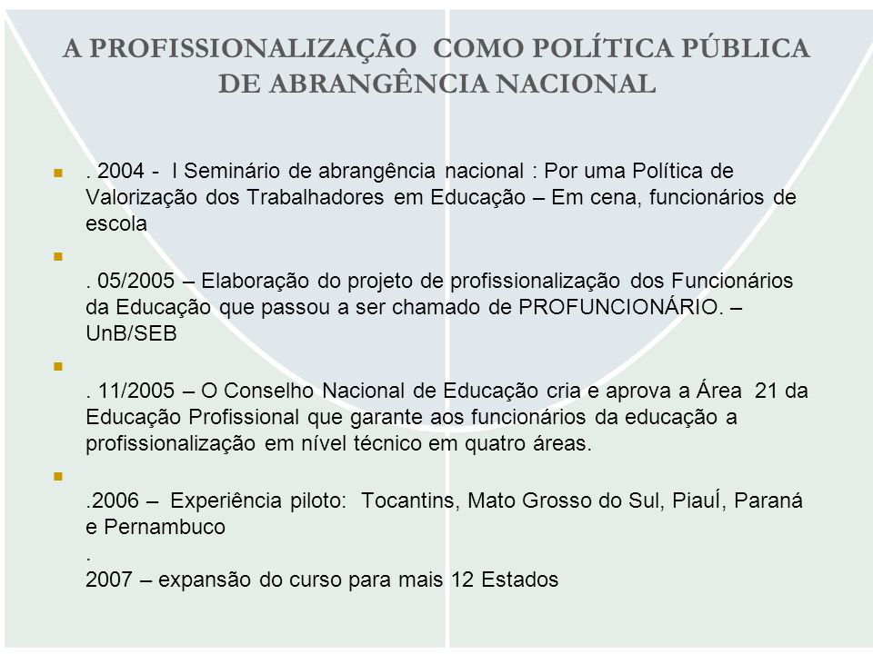 A PROFISSIONALIZAÇÃO COMO POLÍTICA PÚBLICA DE ABRANGÊNCIA NACIONAL. 2004 - I Seminário de abrangência nacional : Por uma Política de Valorização dos T