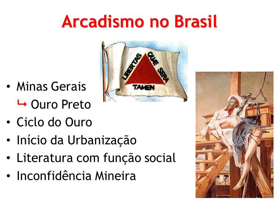 Arcadismo no Brasil Minas Gerais Ouro Preto Ciclo do Ouro Início da Urbanização Literatura com função social Inconfidência Mineira