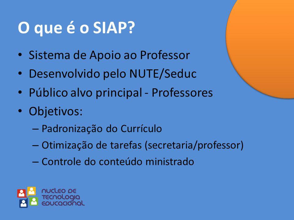 O que é o SIAP? Sistema de Apoio ao Professor Desenvolvido pelo NUTE/Seduc Público alvo principal - Professores Objetivos: – Padronização do Currículo