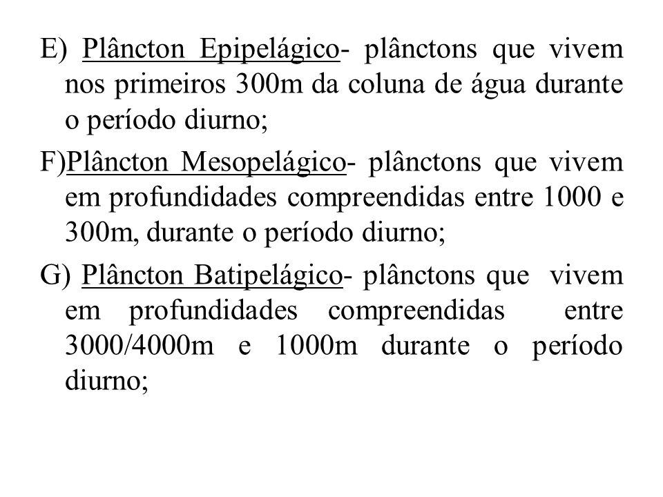 E) Plâncton Epipelágico- plânctons que vivem nos primeiros 300m da coluna de água durante o período diurno; F)Plâncton Mesopelágico- plânctons que viv