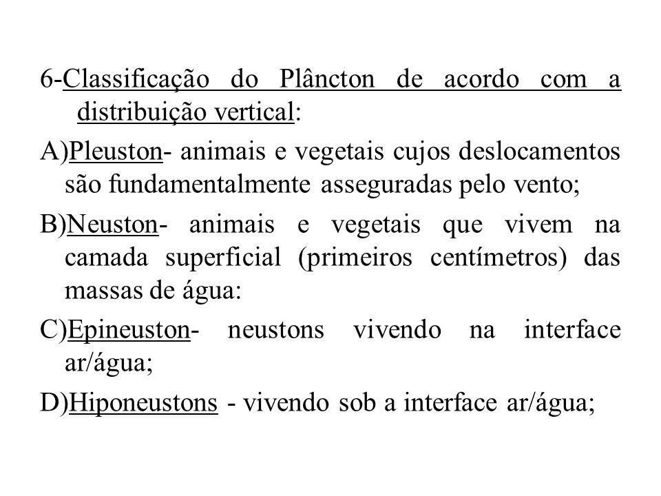 6-Classificação do Plâncton de acordo com a distribuição vertical: A)Pleuston- animais e vegetais cujos deslocamentos são fundamentalmente asseguradas