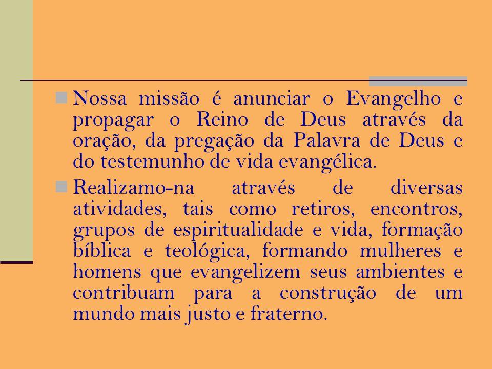 Quem Somos A Fraternidade Missionária Verbum Dei é um Instituto de Vida Consagrada da Igreja Católica, formada por três ramos: missionárias consagrada
