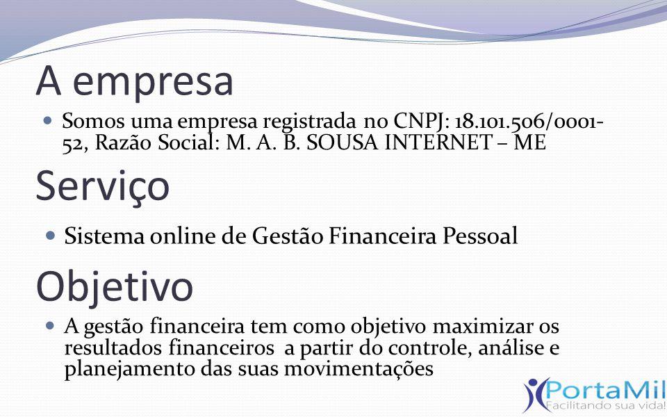 Serviço Sistema online de Gestão Financeira Pessoal Objetivo A gestão financeira tem como objetivo maximizar os resultados financeiros a partir do con