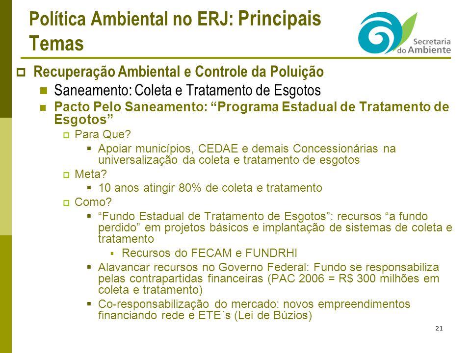 Política Ambiental no ERJ: Principais Temas Recuperação Ambiental e Controle da Poluição Saneamento: Coleta e Tratamento de Esgotos Pacto Pelo Saneamento: Programa Estadual de Tratamento de Esgotos Para Que.