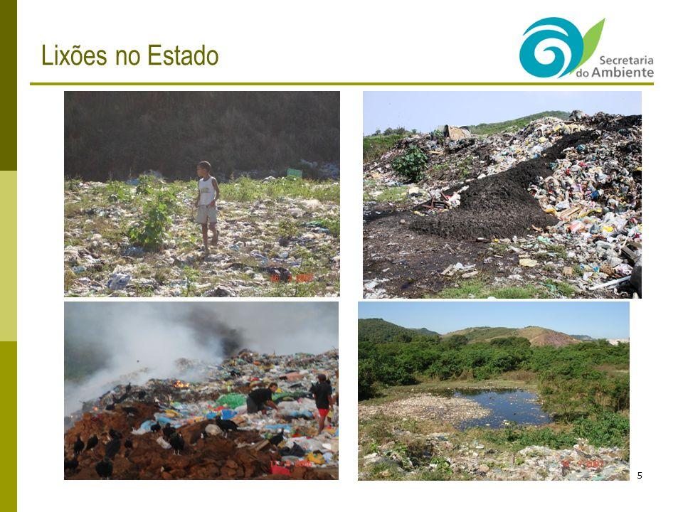 Resíduos - O ESTADO DO RIO DE JANEIRO 6 Composto por 92 Municípios, em resíduos sólidos, se encontra com: 11 Aterros Sanitários Licenciados (LO / LI): Gericinó / Bangu (RJ), Macaé, Nova Iguaçu (particular), Nova Friburgo (novo), Paracambi, Petrópolis, Piraí, Rio das Ostras, Santa Maria Madalena (particular), São Pedro da Aldeia (particular); 14 Aterros Controlados (vazadouro remediado com operação): Angra dos Reis, Barra do Piraí, Duque de Caxias (Gramacho), Guapimirim, Itaboraí, Miracema, Natividade, Niterói, Nova Friburgo, Porciúncula, Resende, Rio Bonito, Rio das Flores, Teresópolis; 07 Aterros Sanitários em Licenciamento: Campos (particular), Itaboraí, Miguel Pereira, Niterói, Seropédica (particular), Vassouras; 57 Unidades de Triagem e Compostagem implantadas, desde 1977, sendo que 35 unidades operando normalmente ; 49 Vazadouros (lixões), sendo 26 operacionais possuindo grande parte a presença de catadores, crianças, animais de corte e vetores.