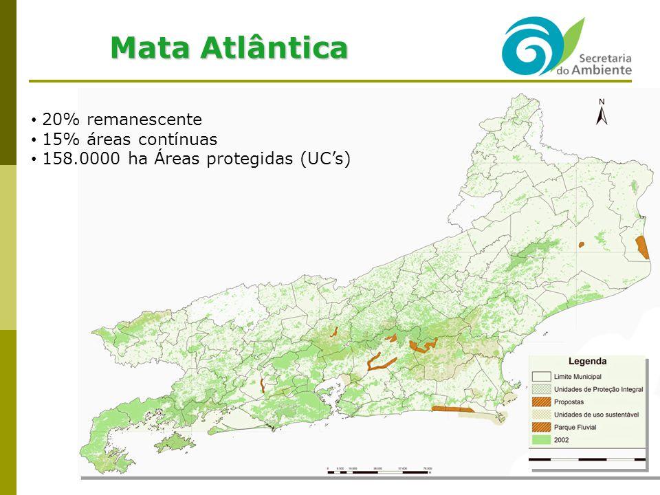 Política Ambiental no ERJ: Principais Temas Recuperação Ambiental e Controle da Poluição Drenagem Urbana e Recuperação de Bacias Hidrográficas e Sistemas Lagunares Projeto Iguaçu / PAC: R$ 270 milhões (OGU + FECAM) SERLA + CEHAB ênfase desocupação de margens de riios 6 municípios da baixada fluminense + Bangu Recuperação das Lagoas: Araruama, Saquarema, Piratininga: em andamento Jacarepaguá, Maricá re Imboassica: iniciar em 2009 Renaturalização de Rios: São João e Macaé Recuperação do Sistema de Canais da Baixada Campista Programa de Desassoreamento: Equipamentos próprios terceirizados 20 equipamentos Apoio técnico e à fiscalização terceirizados Atendimento por ordem cronológica 1,5 milhões de m3 de lixo e lama em 2008 Contrapartida ambiental pelos municípios 19