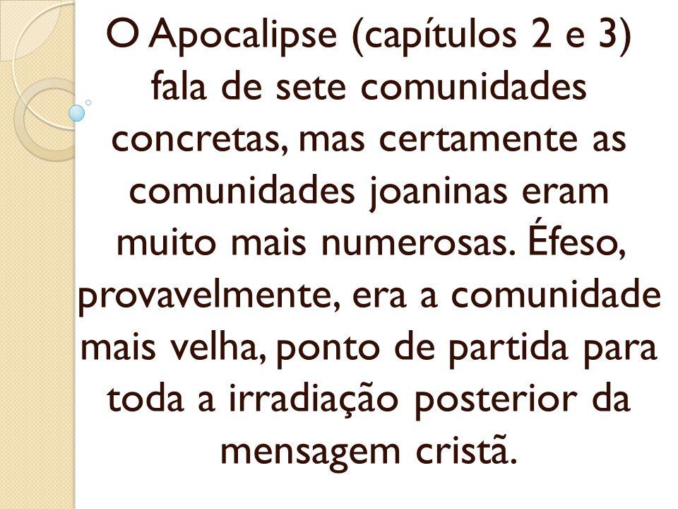 O Apocalipse (capítulos 2 e 3) fala de sete comunidades concretas, mas certamente as comunidades joaninas eram muito mais numerosas. Éfeso, provavelme