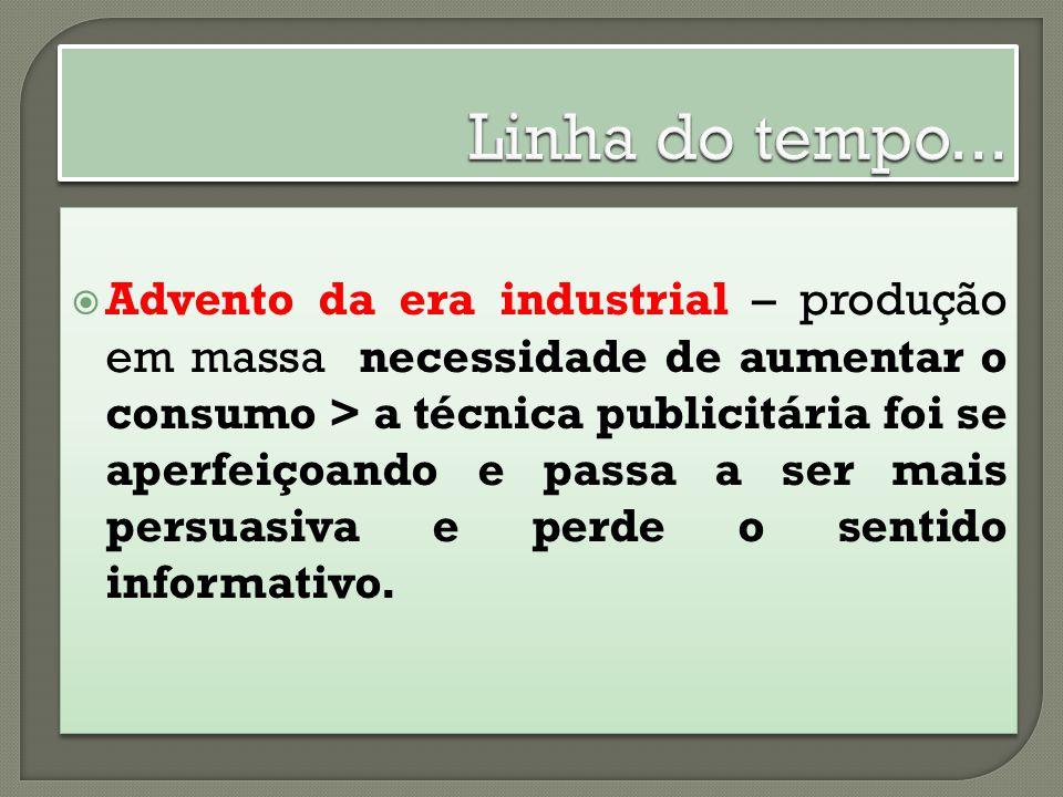 Advento da era industrial – produção em massa necessidade de aumentar o consumo > a técnica publicitária foi se aperfeiçoando e passa a ser mais persuasiva e perde o sentido informativo.