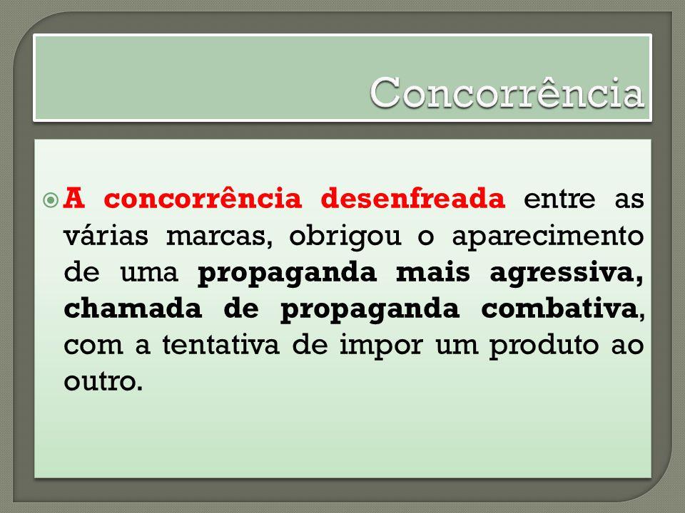 A concorrência desenfreada entre as várias marcas, obrigou o aparecimento de uma propaganda mais agressiva, chamada de propaganda combativa, com a ten