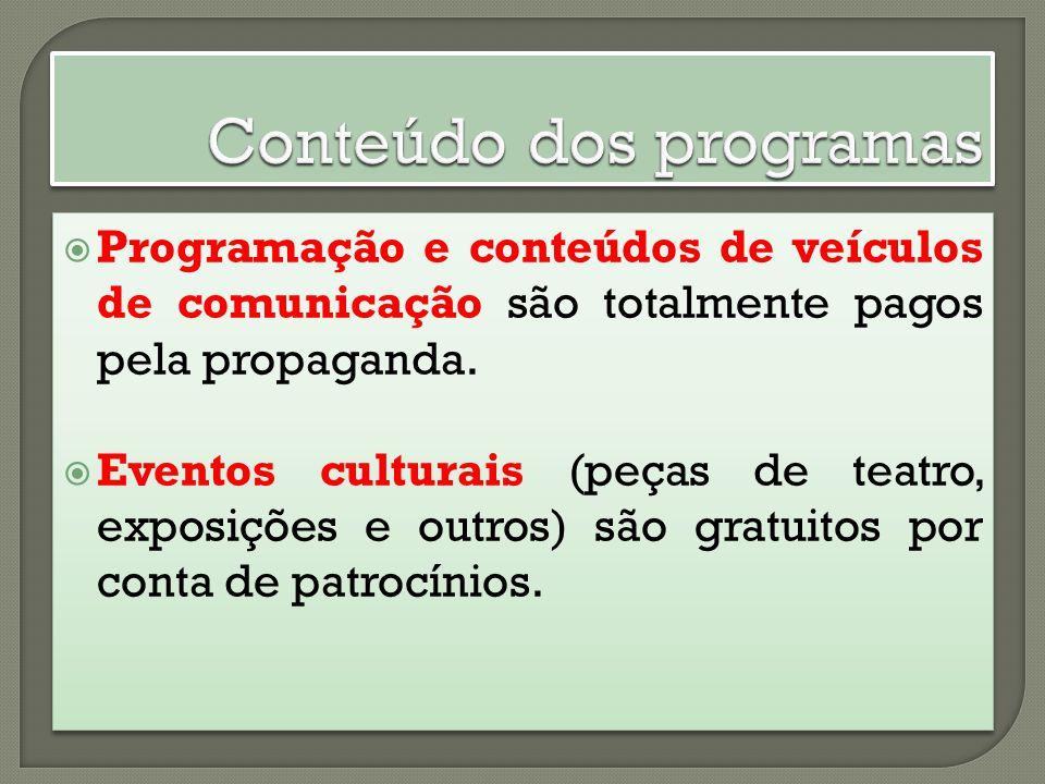 Programação e conteúdos de veículos de comunicação são totalmente pagos pela propaganda. Eventos culturais (peças de teatro, exposições e outros) são