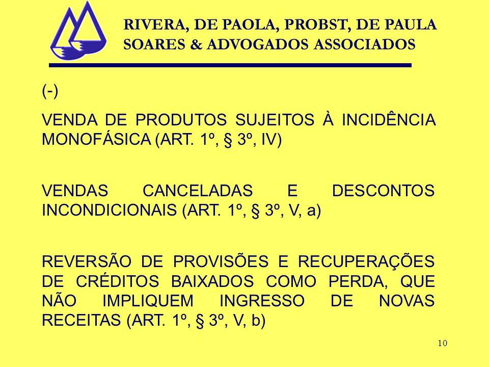 10 (-) VENDA DE PRODUTOS SUJEITOS À INCIDÊNCIA MONOFÁSICA (ART.