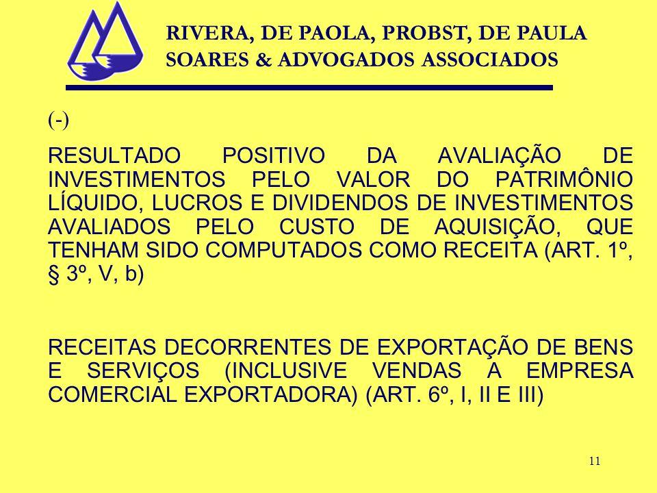 11 (-) RESULTADO POSITIVO DA AVALIAÇÃO DE INVESTIMENTOS PELO VALOR DO PATRIMÔNIO LÍQUIDO, LUCROS E DIVIDENDOS DE INVESTIMENTOS AVALIADOS PELO CUSTO DE AQUISIÇÃO, QUE TENHAM SIDO COMPUTADOS COMO RECEITA (ART.