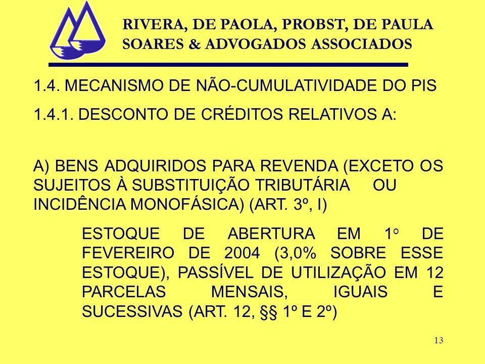 13 1.4. MECANISMO DE NÃO-CUMULATIVIDADE DO PIS 1.4.1.