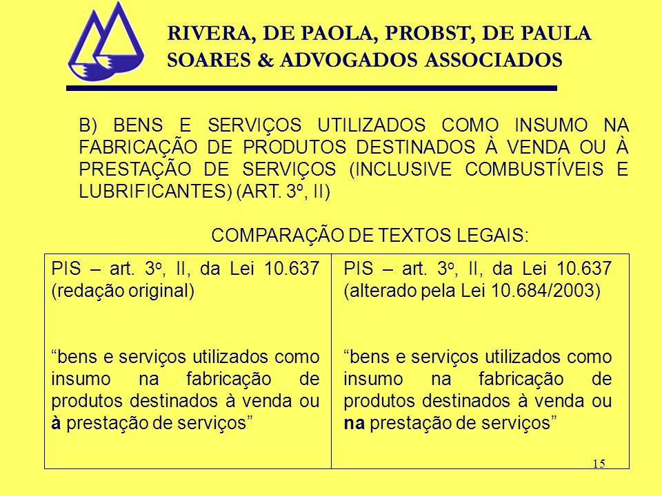 15 B) BENS E SERVIÇOS UTILIZADOS COMO INSUMO NA FABRICAÇÃO DE PRODUTOS DESTINADOS À VENDA OU À PRESTAÇÃO DE SERVIÇOS (INCLUSIVE COMBUSTÍVEIS E LUBRIFICANTES) (ART.