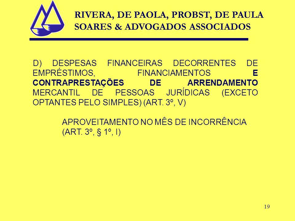 19 D) DESPESAS FINANCEIRAS DECORRENTES DE EMPRÉSTIMOS, FINANCIAMENTOS E CONTRAPRESTAÇÕES DE ARRENDAMENTO MERCANTIL DE PESSOAS JURÍDICAS (EXCETO OPTANTES PELO SIMPLES) (ART.