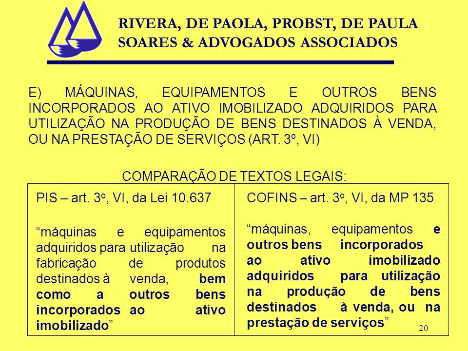 20 E) MÁQUINAS, EQUIPAMENTOS E OUTROS BENS INCORPORADOS AO ATIVO IMOBILIZADO ADQUIRIDOS PARA UTILIZAÇÃO NA PRODUÇÃO DE BENS DESTINADOS À VENDA, OU NA PRESTAÇÃO DE SERVIÇOS (ART.