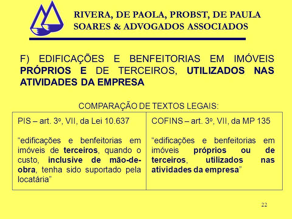 22 F) EDIFICAÇÕES E BENFEITORIAS EM IMÓVEIS PRÓPRIOS E DE TERCEIROS, UTILIZADOS NAS ATIVIDADES DA EMPRESA COMPARAÇÃO DE TEXTOS LEGAIS: PIS – art.