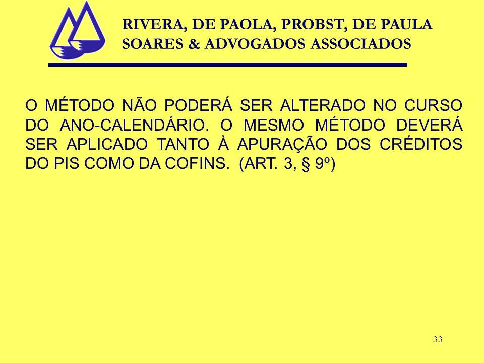 33 O MÉTODO NÃO PODERÁ SER ALTERADO NO CURSO DO ANO-CALENDÁRIO.