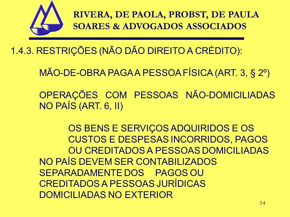 34 1.4.3. RESTRIÇÕES (NÃO DÃO DIREITO A CRÉDITO): MÃO-DE-OBRA PAGA A PESSOA FÍSICA (ART.
