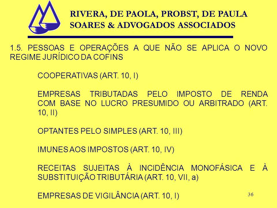 36 1.5. PESSOAS E OPERAÇÕES A QUE NÃO SE APLICA O NOVO REGIME JURÍDICO DA COFINS COOPERATIVAS (ART.