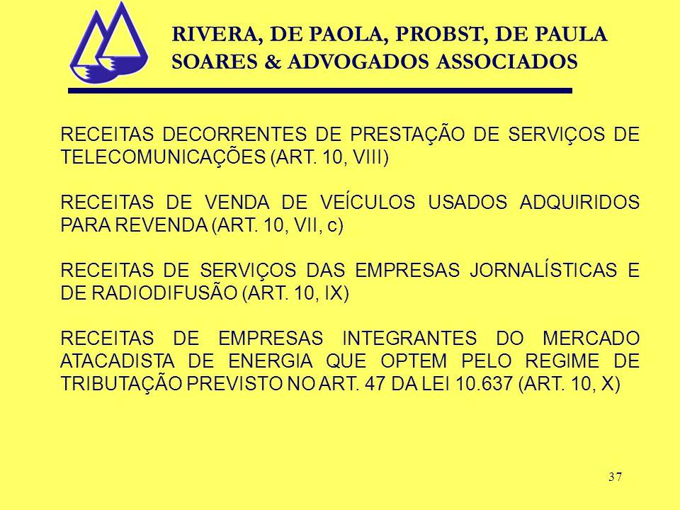 37 RECEITAS DECORRENTES DE PRESTAÇÃO DE SERVIÇOS DE TELECOMUNICAÇÕES (ART.