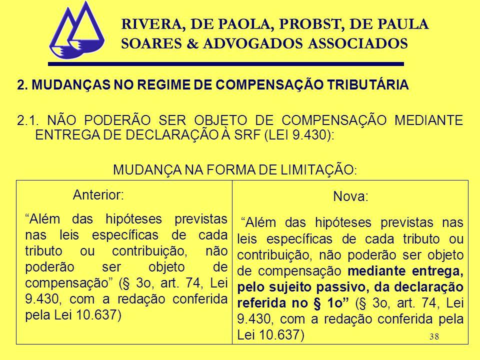 38 2. MUDANÇAS NO REGIME DE COMPENSAÇÃO TRIBUTÁRIA 2.1.