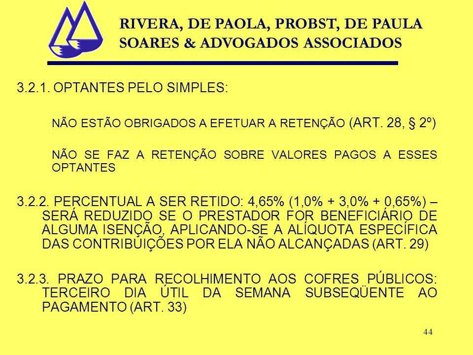44 3.2.1. OPTANTES PELO SIMPLES: NÃO ESTÃO OBRIGADOS A EFETUAR A RETENÇÃO (ART.