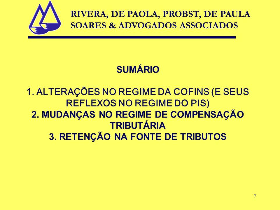 7 SUMÁRIO 1. ALTERAÇÕES NO REGIME DA COFINS (E SEUS REFLEXOS NO REGIME DO PIS) 2.