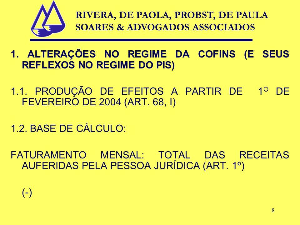 8 1. ALTERAÇÕES NO REGIME DA COFINS (E SEUS REFLEXOS NO REGIME DO PIS) 1.1.