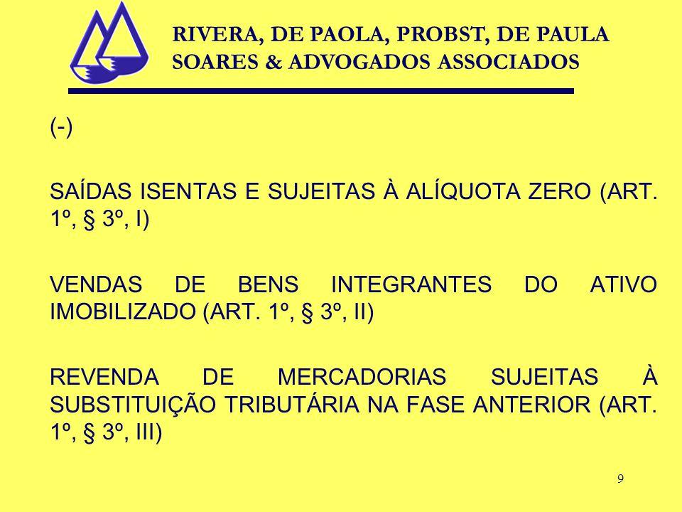 9 (-) SAÍDAS ISENTAS E SUJEITAS À ALÍQUOTA ZERO (ART.