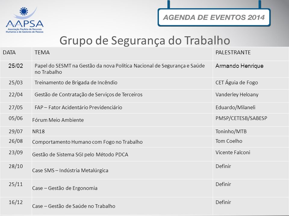 Grupo de Executivos de RH DATATEMAPalestrante 07/03Os maiores desafios deGestão de PessoasDefinir 13/06O RH é EstratégicoDefinir 17/10´Fórum RH – Cases Práticos – Apagão de TalentosDefinir 07/11O Profissional brasileiro é competitivo?Definir