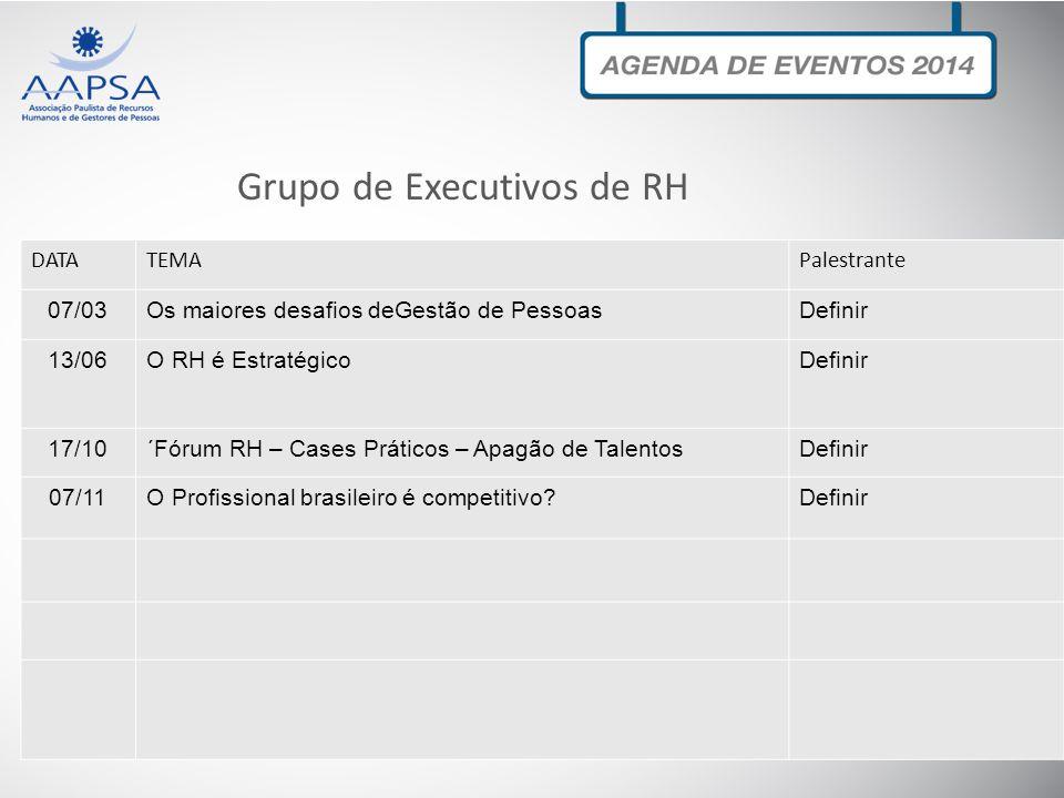 Grupo de Executivos de RH DATATEMAPalestrante 07/03Os maiores desafios deGestão de PessoasDefinir 13/06O RH é EstratégicoDefinir 17/10´Fórum RH – Case