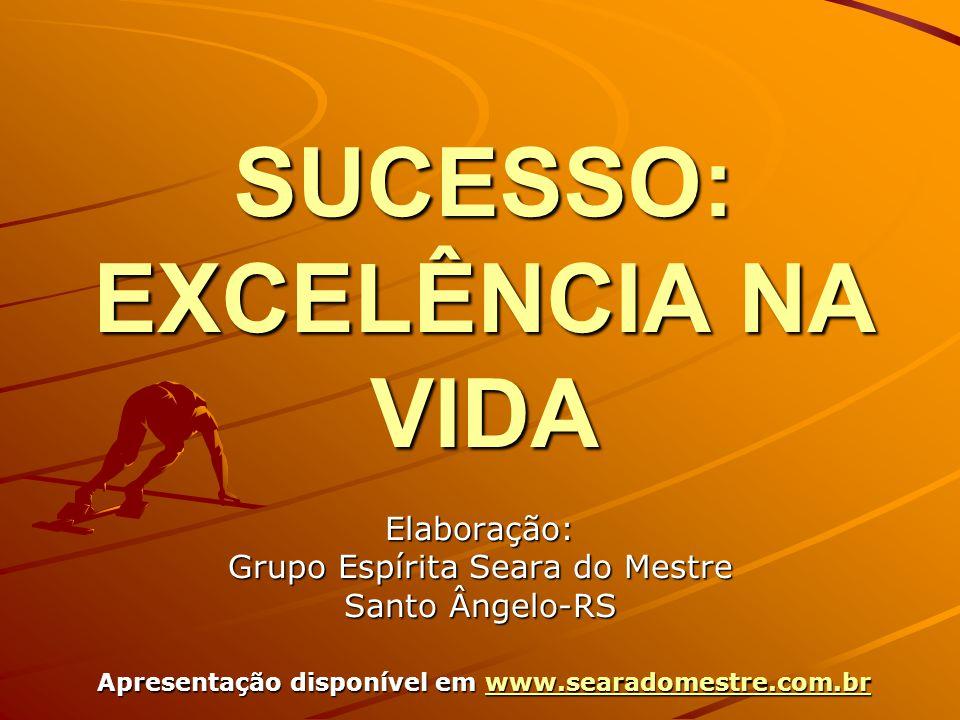 SUCESSO: EXCELÊNCIA NA VIDA Elaboração: Grupo Espírita Seara do Mestre Santo Ângelo-RS Apresentação disponível em www.searadomestre.com.br www.searadomestre.com.br