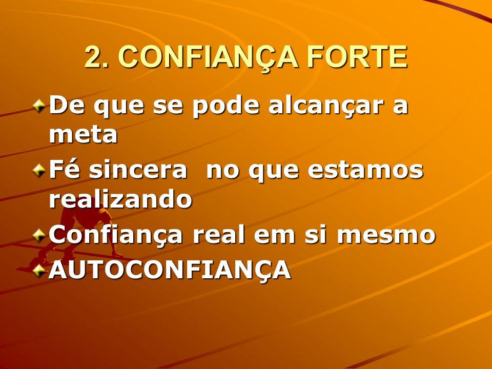 2. CONFIANÇA FORTE De que se pode alcançar a meta Fé sincera no que estamos realizando Confiança real em si mesmo AUTOCONFIANÇA