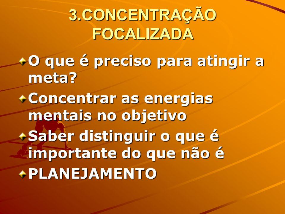 3.CONCENTRAÇÃO FOCALIZADA O que é preciso para atingir a meta.