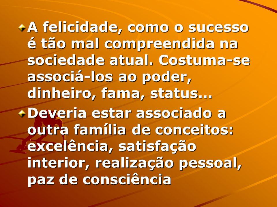 A felicidade, como o sucesso é tão mal compreendida na sociedade atual.