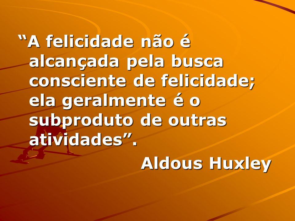A felicidade não é alcançada pela busca consciente de felicidade; ela geralmente é o subproduto de outras atividades.
