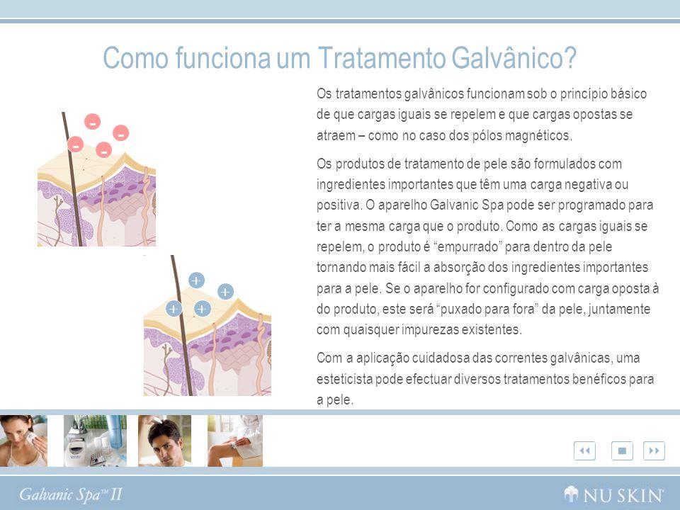 Como funciona um Tratamento Galvânico? Os tratamentos galvânicos funcionam sob o princípio básico de que cargas iguais se repelem e que cargas opostas