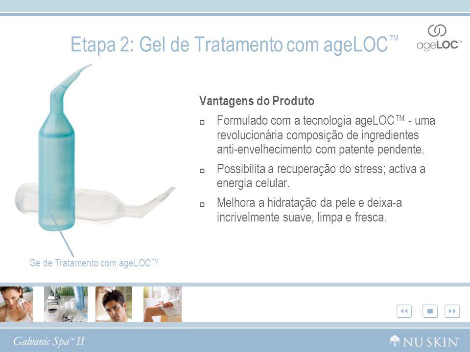 Etapa 2: Gel de Tratamento com ageLOC Vantagens do Produto Formulado com a tecnologia ageLOC - uma revolucionária composição de ingredientes anti-enve