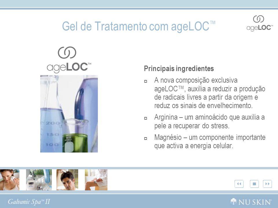 Gel de Tratamento com ageLOC Principais ingredientes A nova composição exclusiva ageLOC, auxilia a reduzir a produção de radicais livres a partir da o