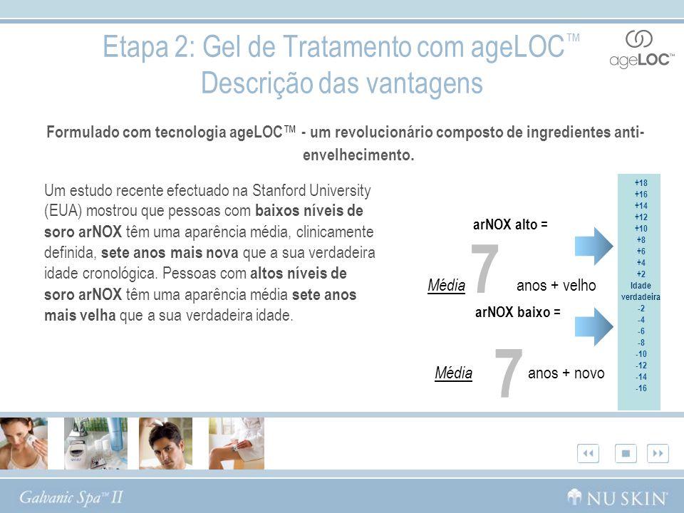 Etapa 2: Gel de Tratamento com ageLOC Descrição das vantagens Formulado com tecnologia ageLOC - um revolucionário composto de ingredientes anti- envel