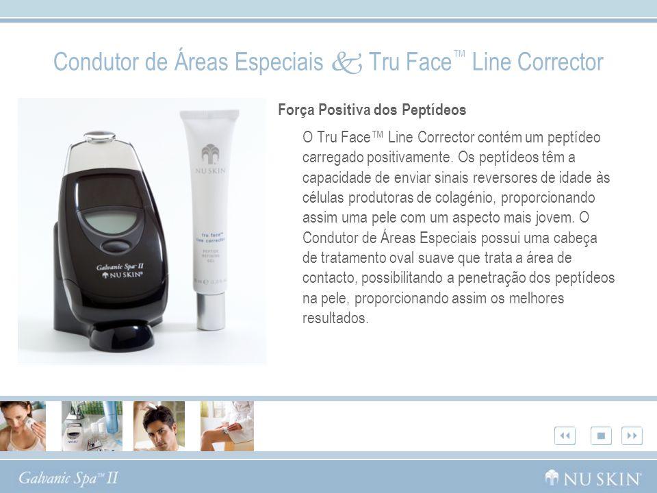 Força Positiva dos Peptídeos O Tru Face Line Corrector contém um peptídeo carregado positivamente. Os peptídeos têm a capacidade de enviar sinais reve