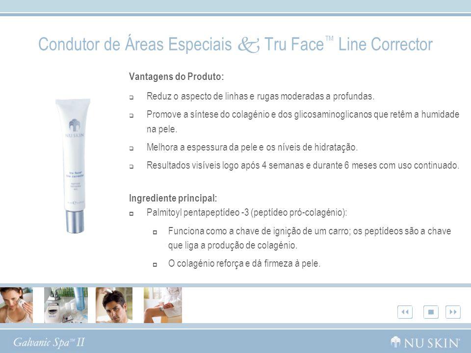 Condutor de Áreas Especiais Tru Face Line Corrector Vantagens do Produto: Reduz o aspecto de linhas e rugas moderadas a profundas. Promove a síntese d
