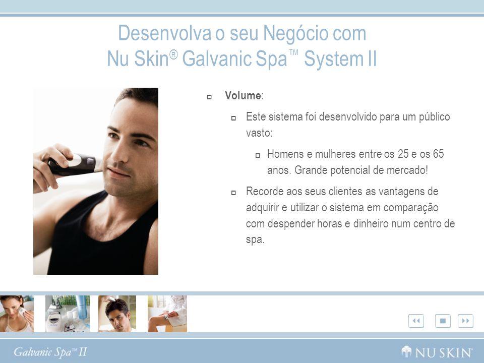 Desenvolva o seu Negócio com Nu Skin ® Galvanic Spa System II Volume : Este sistema foi desenvolvido para um público vasto: Homens e mulheres entre os
