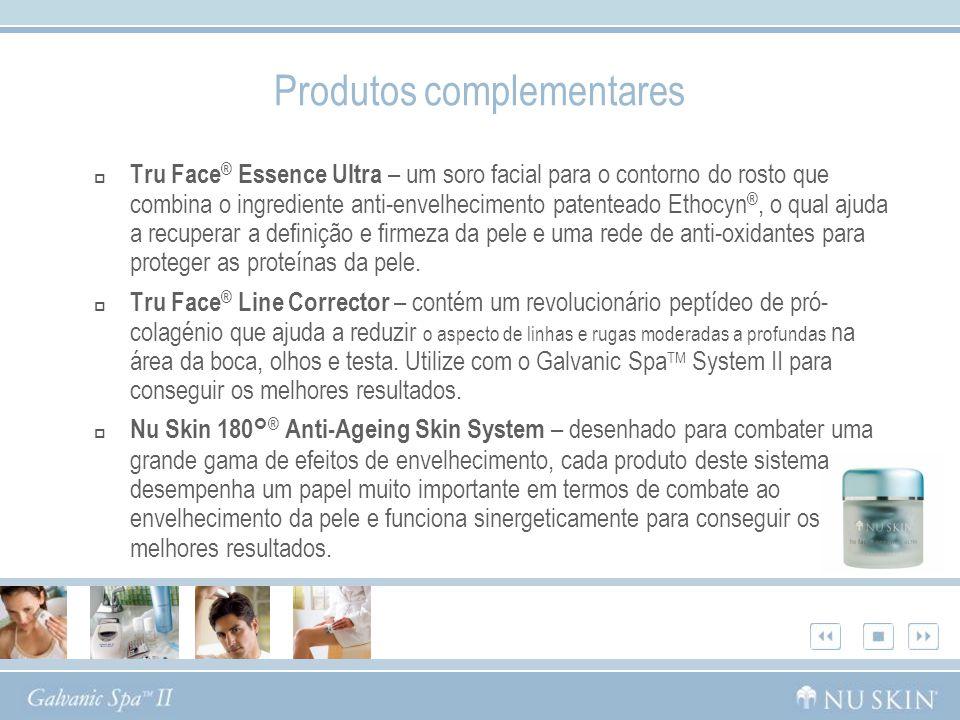 Produtos complementares Tru Face ® Essence Ultra – um soro facial para o contorno do rosto que combina o ingrediente anti-envelhecimento patenteado Et