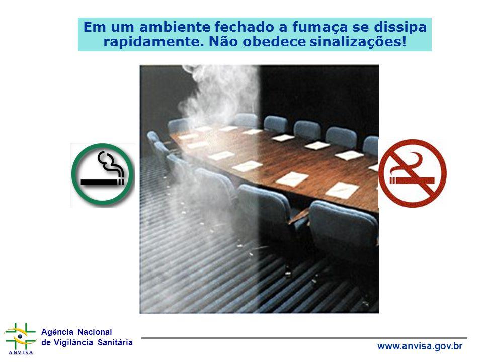 Agência Nacional de Vigilância Sanitária www.anvisa.gov.br Em um ambiente fechado a fumaça se dissipa rapidamente. Não obedece sinalizações!