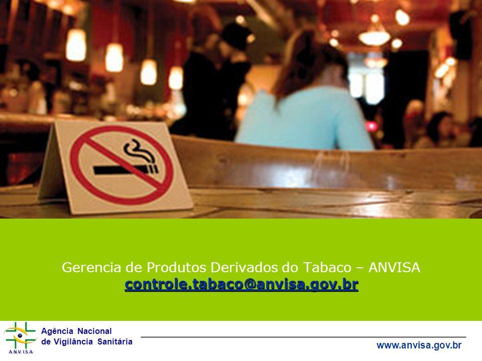 Agência Nacional de Vigilância Sanitária www.anvisa.gov.br controle.tabaco@anvisa.gov.br Gerencia de Produtos Derivados do Tabaco – ANVISA controle.ta